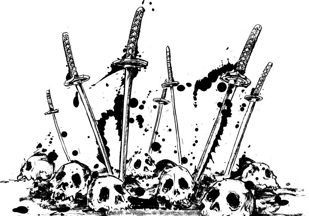 武士刀武器兵器日本漫画动漫侍魂纹身漫画族血刀剑域禁图片