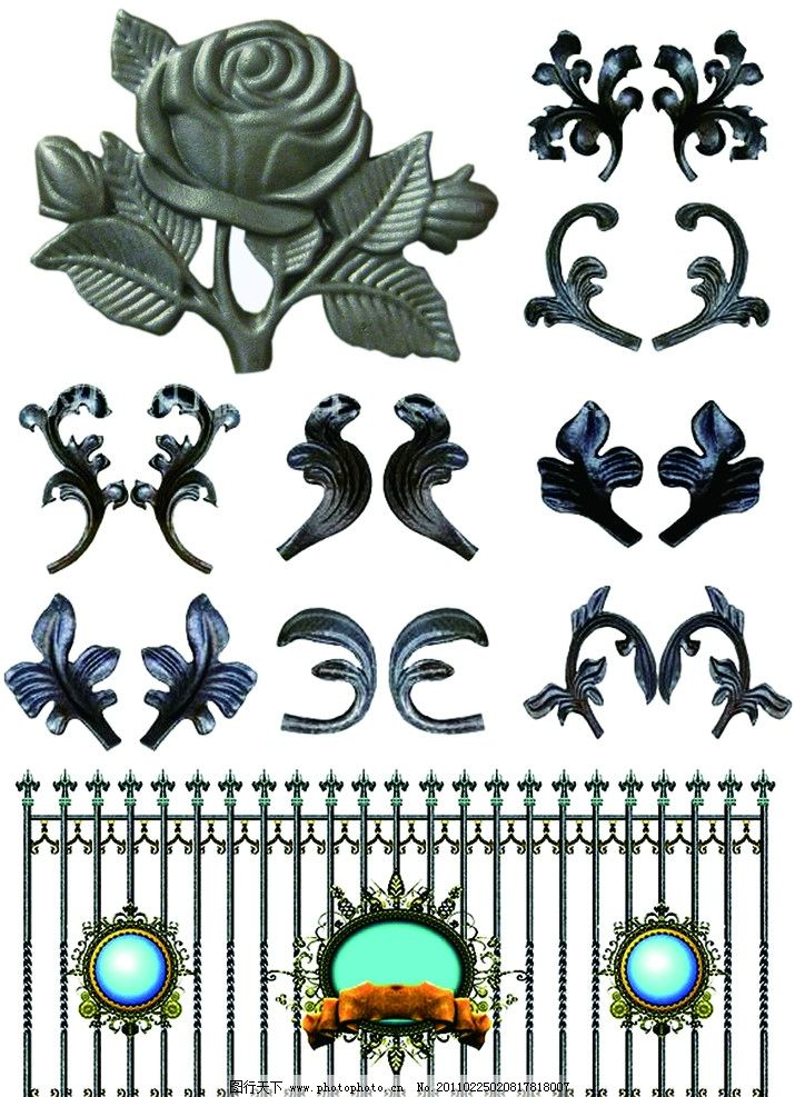 传统图案素材21 楼梯 铁花 对称 门 镂空 护栏 中式纹饰 艺术图案
