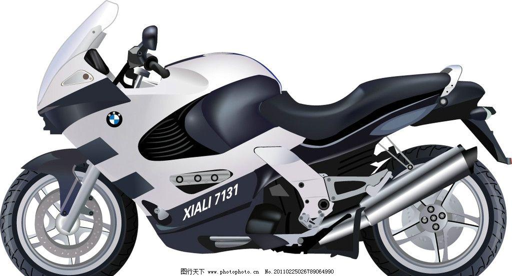 高精细矢量摩托车 矢量 精致 摩托 手绘 宝马 飚车 矢量素材 交通工具