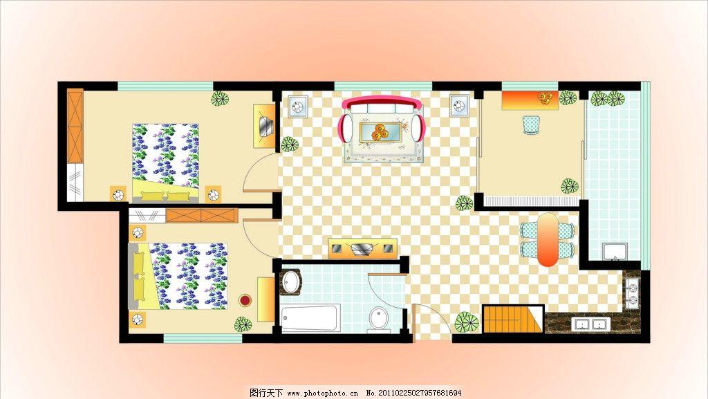 室内平面图 平面图 床 沙发 室内设计 建筑家居 矢量 cdr