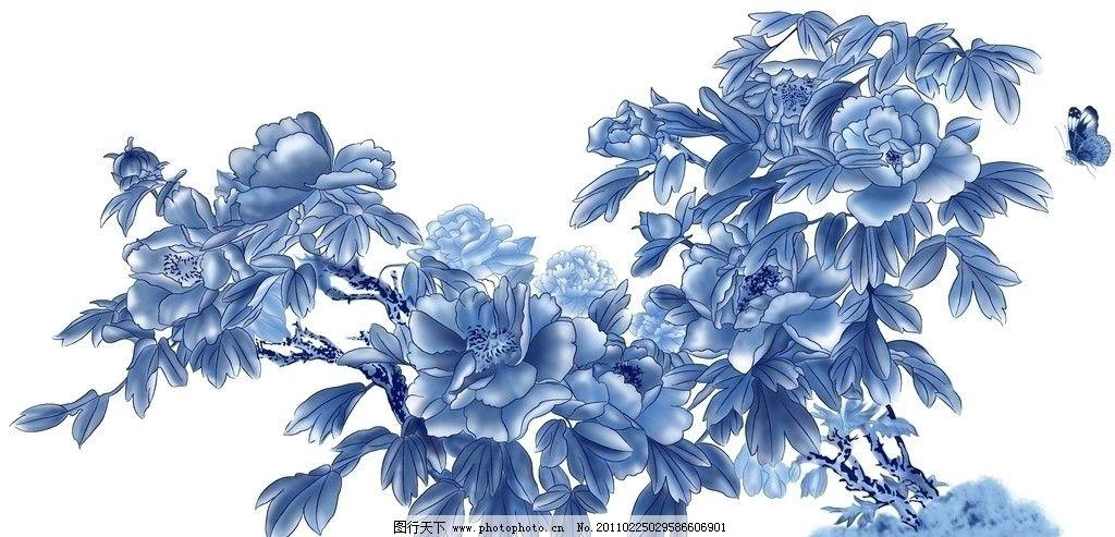 牡丹 牡丹图 花开富贵 工笔 国画 蝴蝶 蓝牡丹 设计 蓝彩 psd 通道