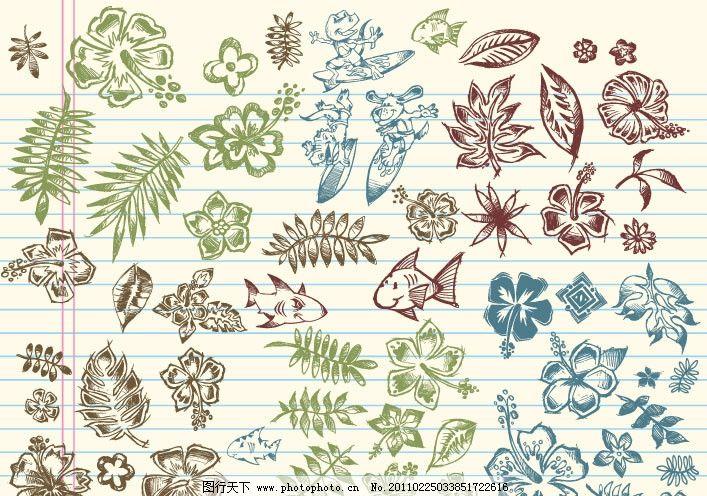 手绘可爱涂鸦图案矢量素材图片