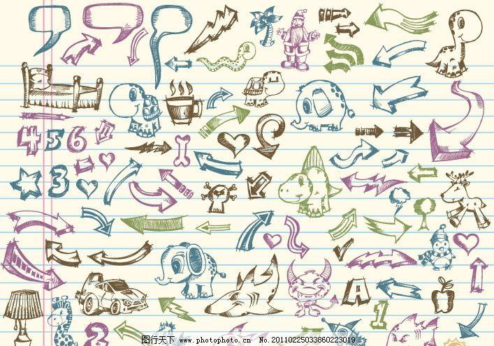 手绘可爱涂鸦图案矢量素材 动物 泡泡 对话框 床 大象 桃心 老人