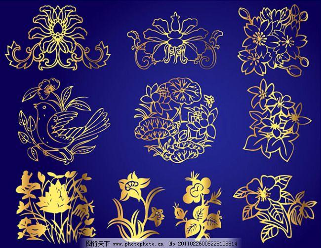 荷花 花 花边 花骨朵 花纹 时尚花纹 矢量花 适合纹样 花纹 时尚花纹