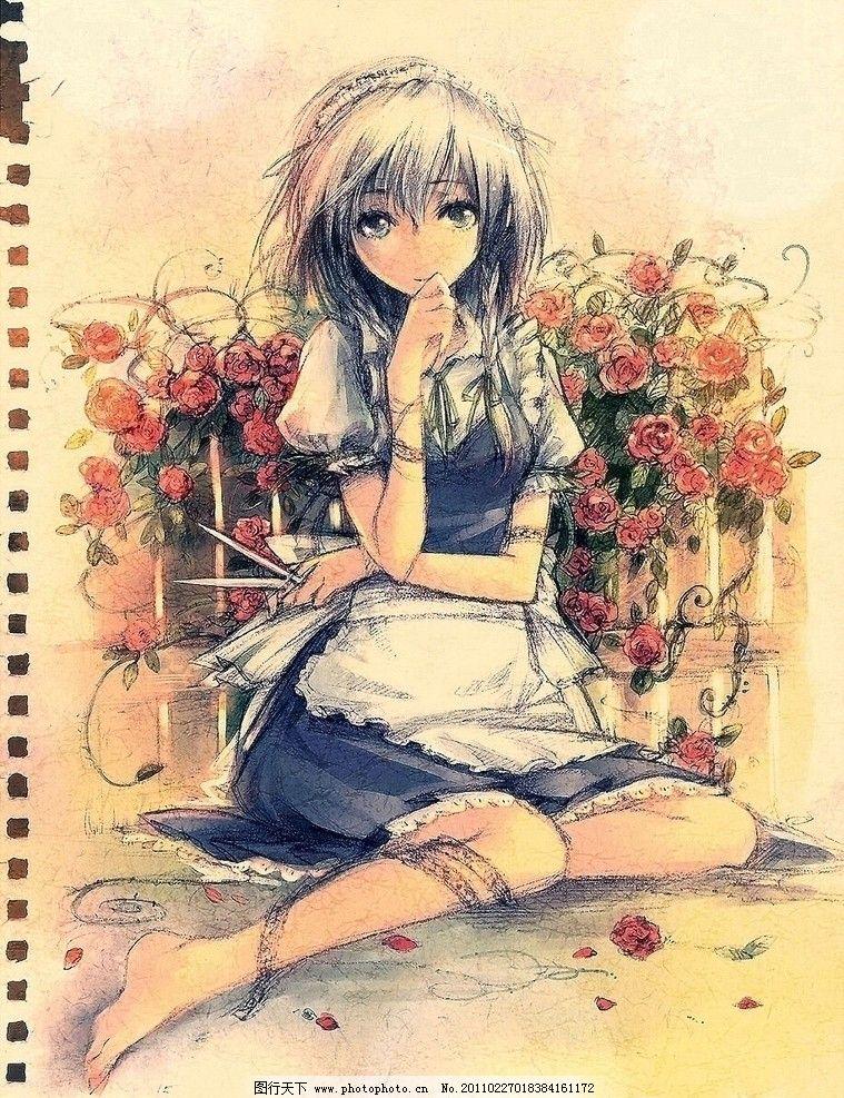 彩铅手绘少女 裙子 速写本 动漫动画