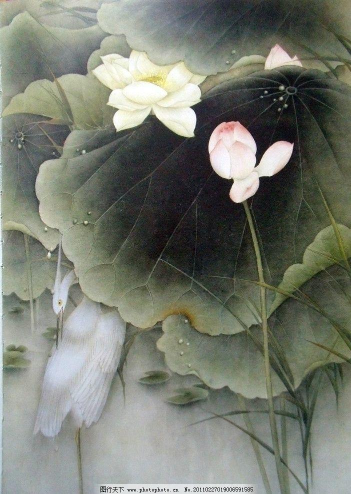 优质荷花素材 白鹤 中国工笔画 美术国画 水墨画 彩墨画 荷花国画专辑