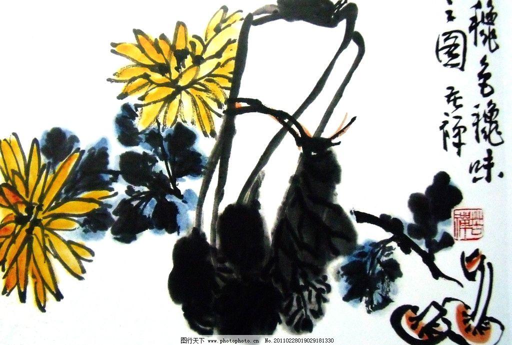 国画 蔬菜 白菜 黄花菜 蘑菇 写意绘画 工笔画 美术国画 水墨画 彩墨