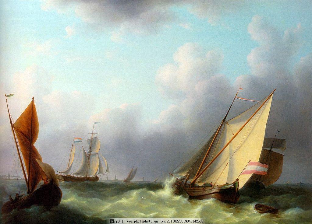 美油画 美术 绘画 艺术 风景 风浪 小船 绘画书法 文-欧美小镇风景油