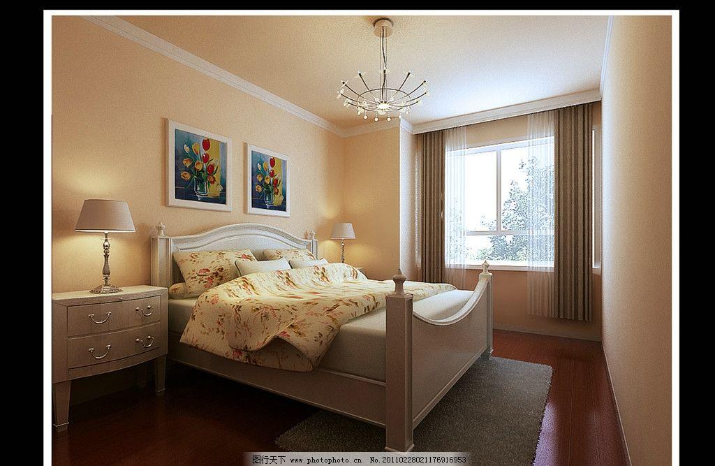 卧室 贴图 窗户 窗帘 灯 衣柜 地毯 挂画 吊灯 室内设计 室内