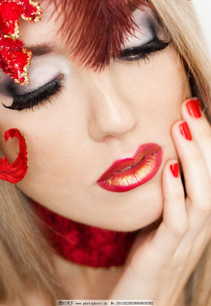 古装打扮的美女指甲嘴唇眼睫毛图片_女性女人_人物_图