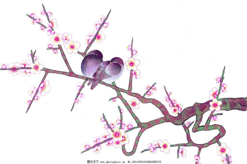 工笔画 梅花 梅花树 树枝 工笔花鸟 国画 绘画 艺术 绘画书法