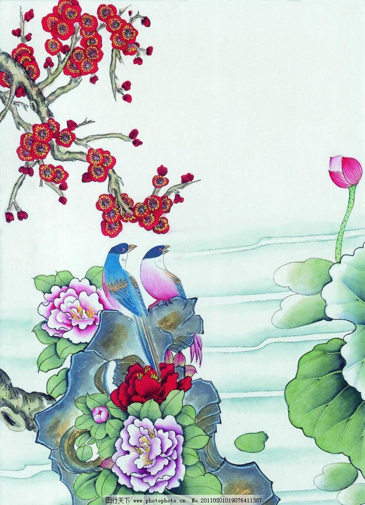 工笔画 梅花 红梅 红梅花 工笔花鸟 牡丹 牡丹花 莲花 荷叶 荷花 小溪