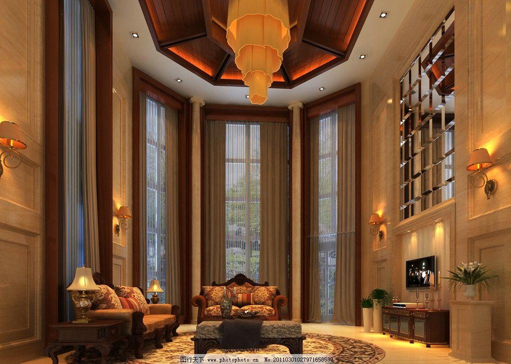 简单欧式 欧式风格 暖色调 大客厅 沙发 拱门 雕花 电视背景墙