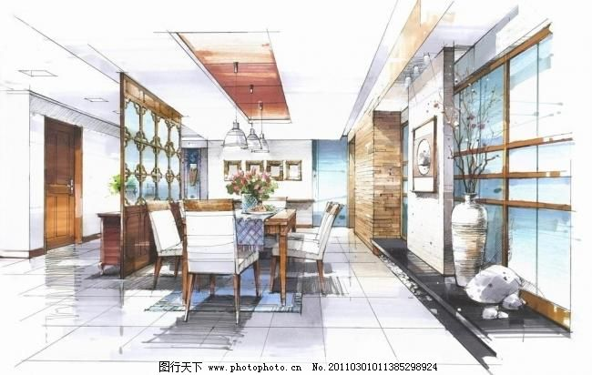 手绘室内设计 厨房 吊灯 花瓶 绘画书法 家具 客厅 楼梯 马克笔效果图
