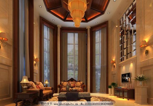 暖色调 大客厅 沙发 拱门 雕花 电视背景墙 沙发背景墙 大阳台 3d效果