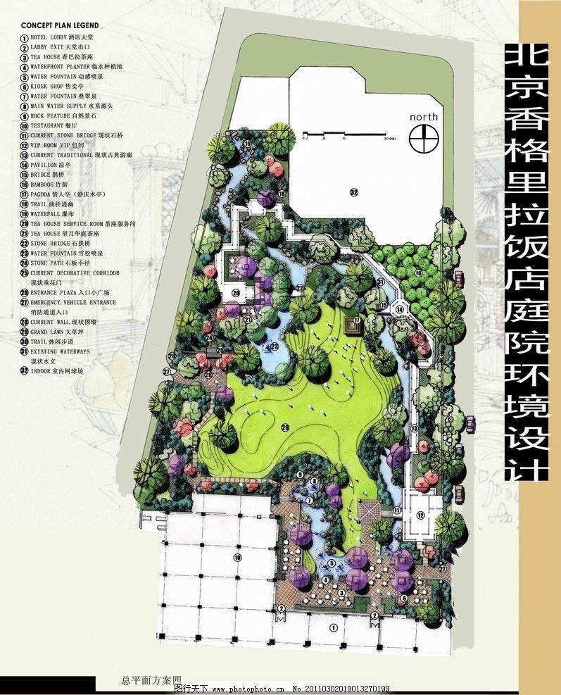 景观园林设计 人文景观 园林景观效果图 城市景观 景观平面图 马克笔