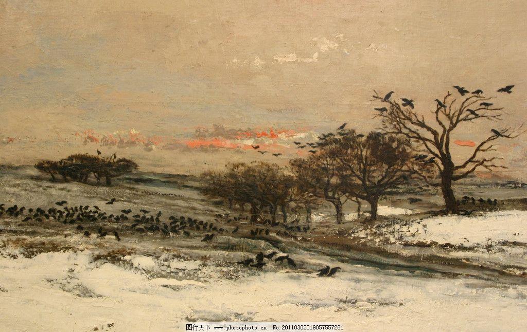 风景油画 油画 绘画 雪景
