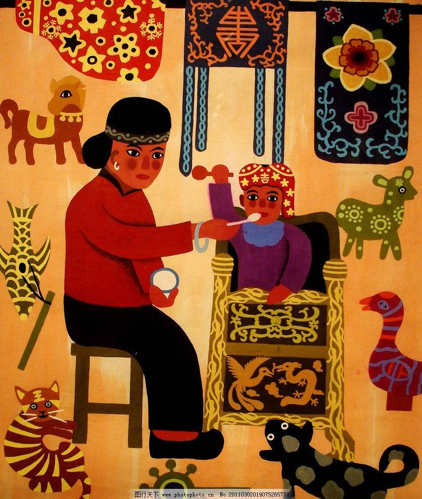 摇车曲 美术 绘画 中国画 工笔画 农民画 工笔重彩画 乡村 人物