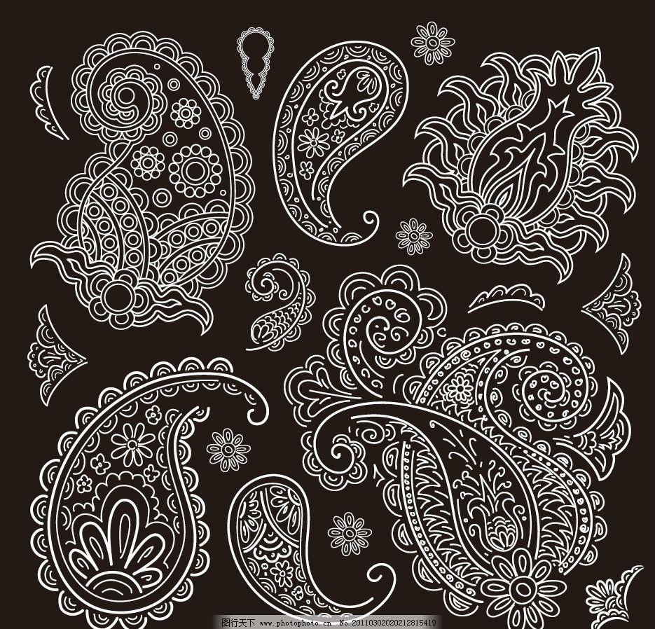 黑白欧式古典花纹花边边框装饰设计素材图片