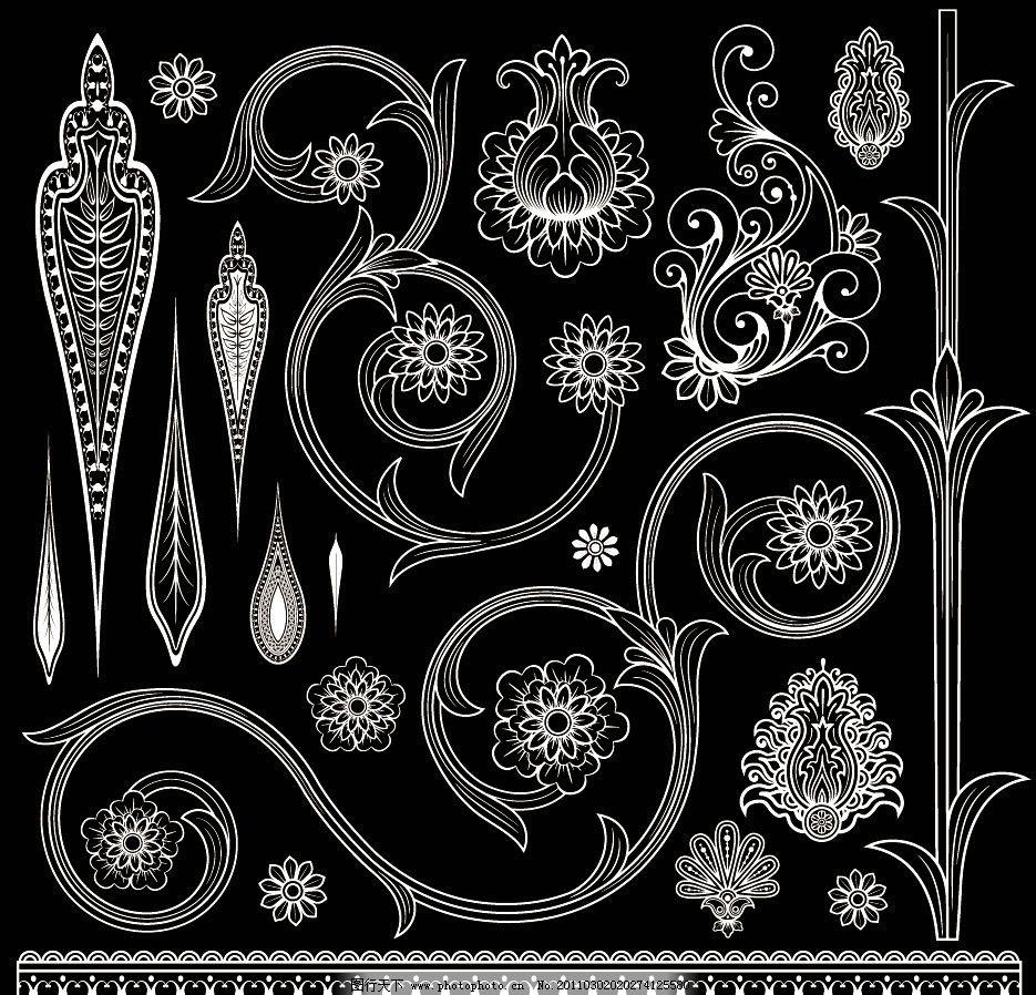 黑白欧式古典花纹花边边框装饰设计素材图片_背景底纹