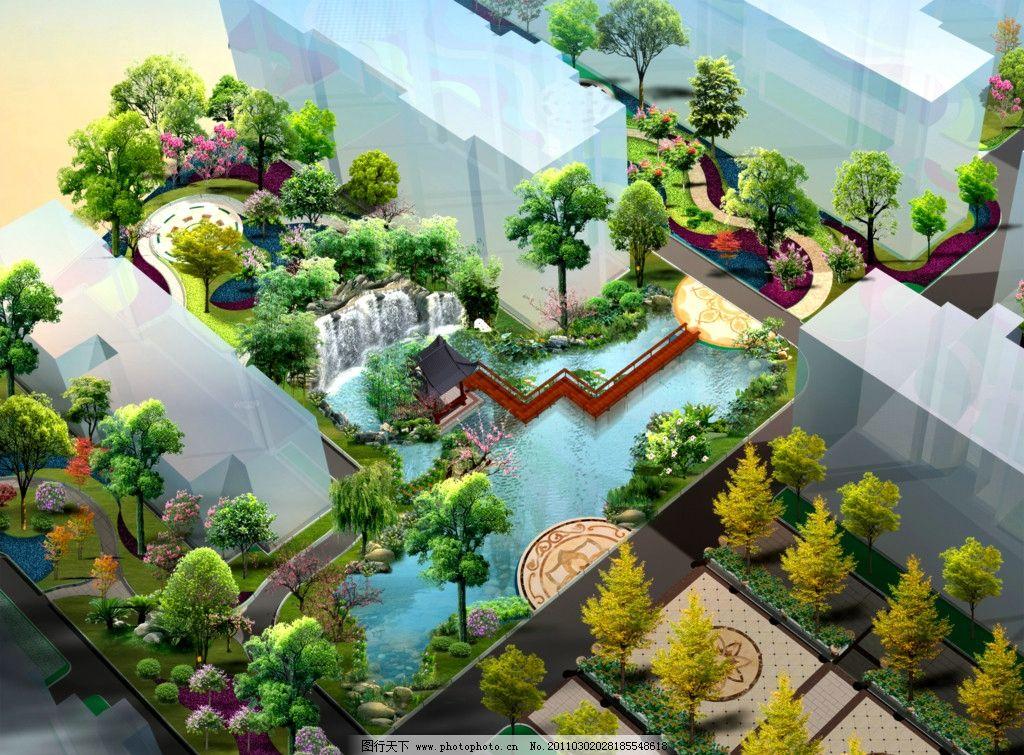 中心假山水池效果图图片
