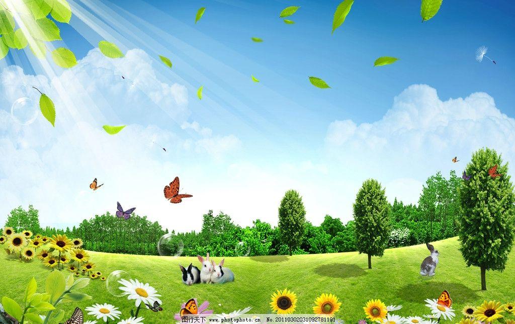 春天 树 叶子 树叶 树林 阳光 蓝天 白云 蝴蝶 清爽 小兔子 浦公英 花