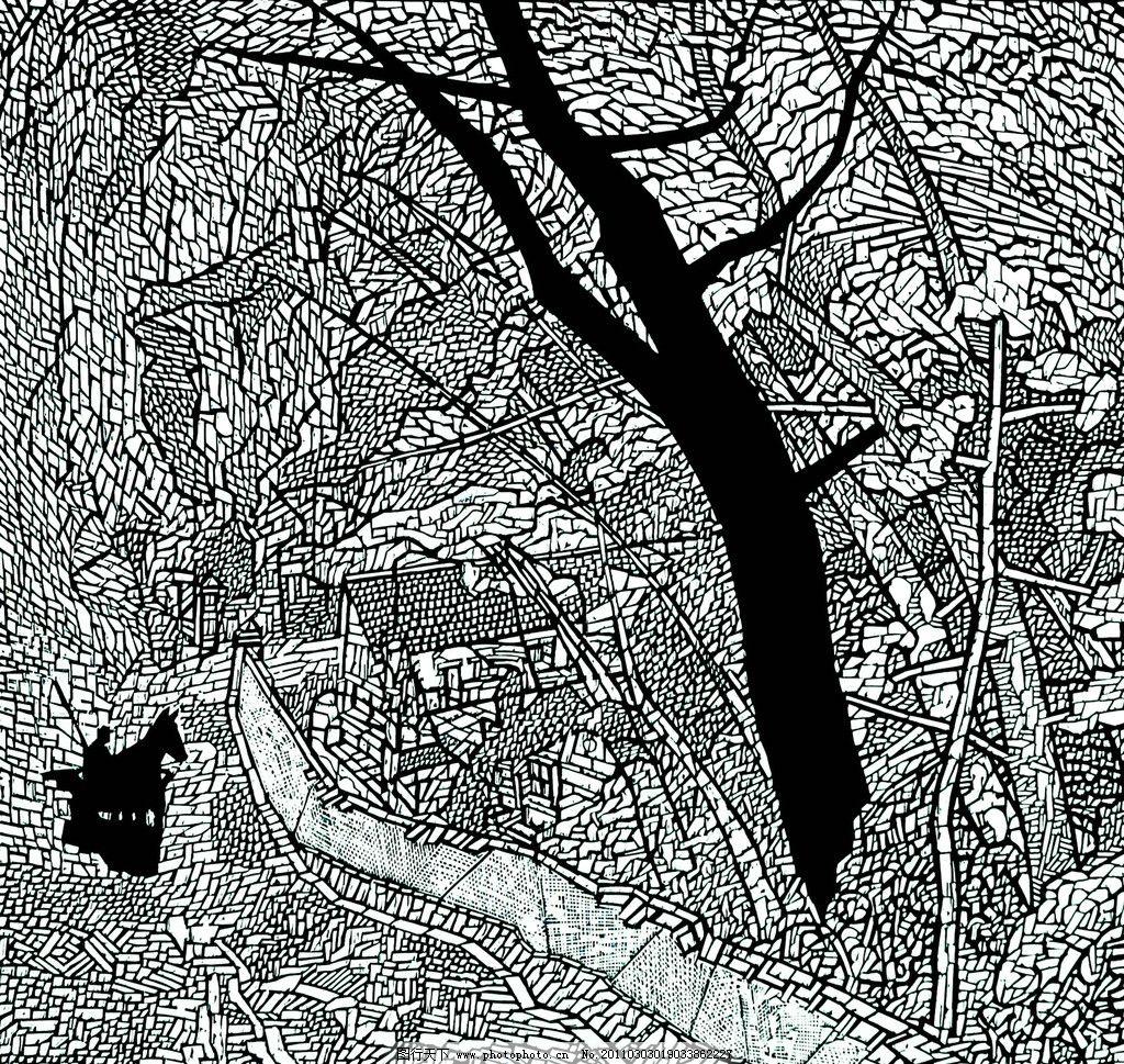 故园麻园 美术 绘画 版画 黑白版画 装饰画 风景 乡村 村庄 房屋 树木
