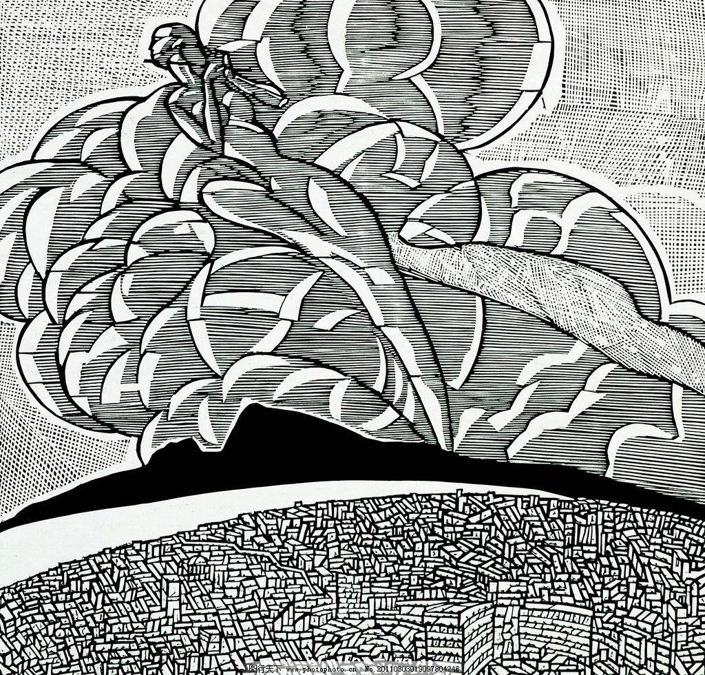 美术 绘画 版画 黑白版画 装饰画 风景 大地 乡村 房屋 树木 云彩