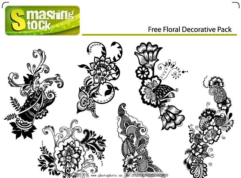 黑白欧式古典花纹花边底纹