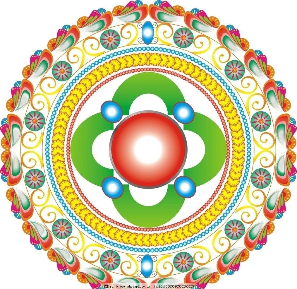 古典图案 花边 民族图案 盘底 圆型图案 漂亮的圆型图形 瓷底