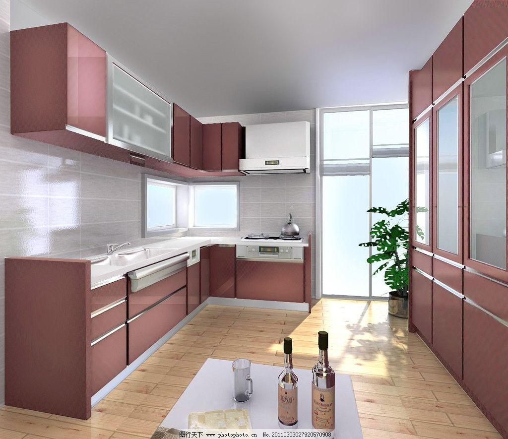 厨房效果图 厨房效果 酒 柜子 杯子 室内设计 环境设计 设计 72dpi jp图片