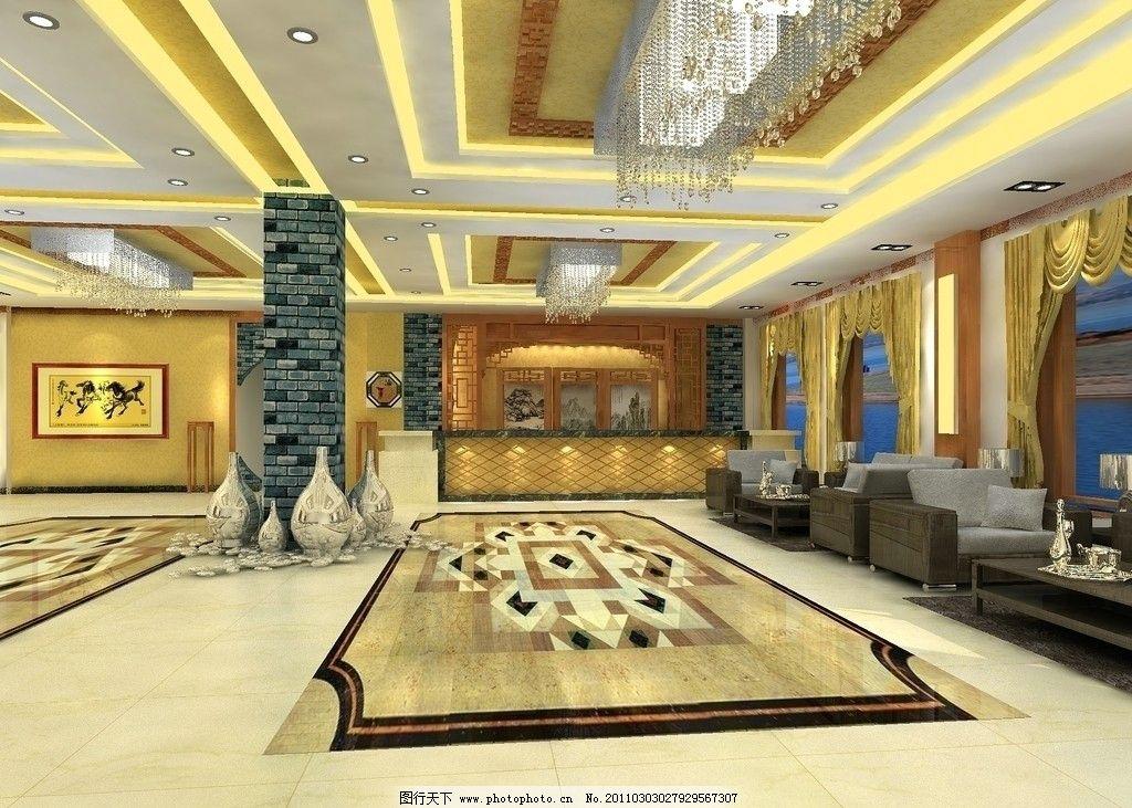 大厅效果图 大厅 灯 地毯 柱子 沙发 装饰画 室内设计 环境设计 设计