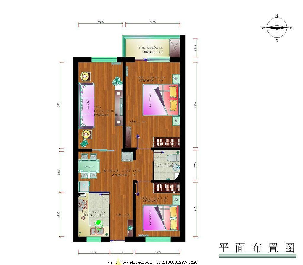 小户型彩色cad平面图图片_室内设计_环境设计_图行