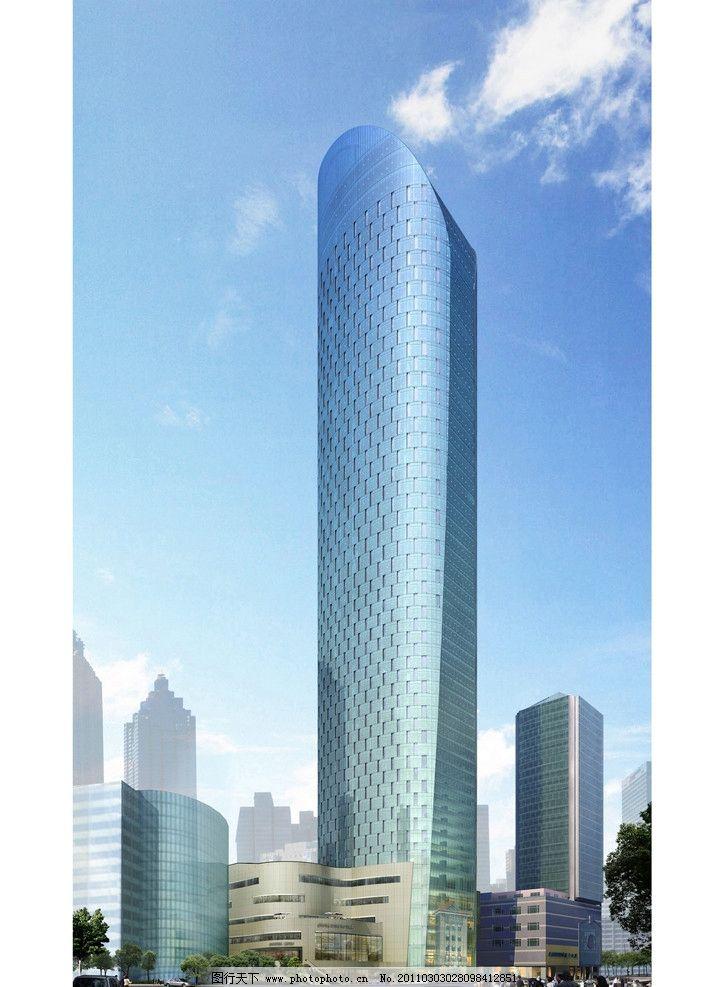 建筑效果图 鸟瞰图 透视图 超高层 城市 都市 办公楼 公共建筑