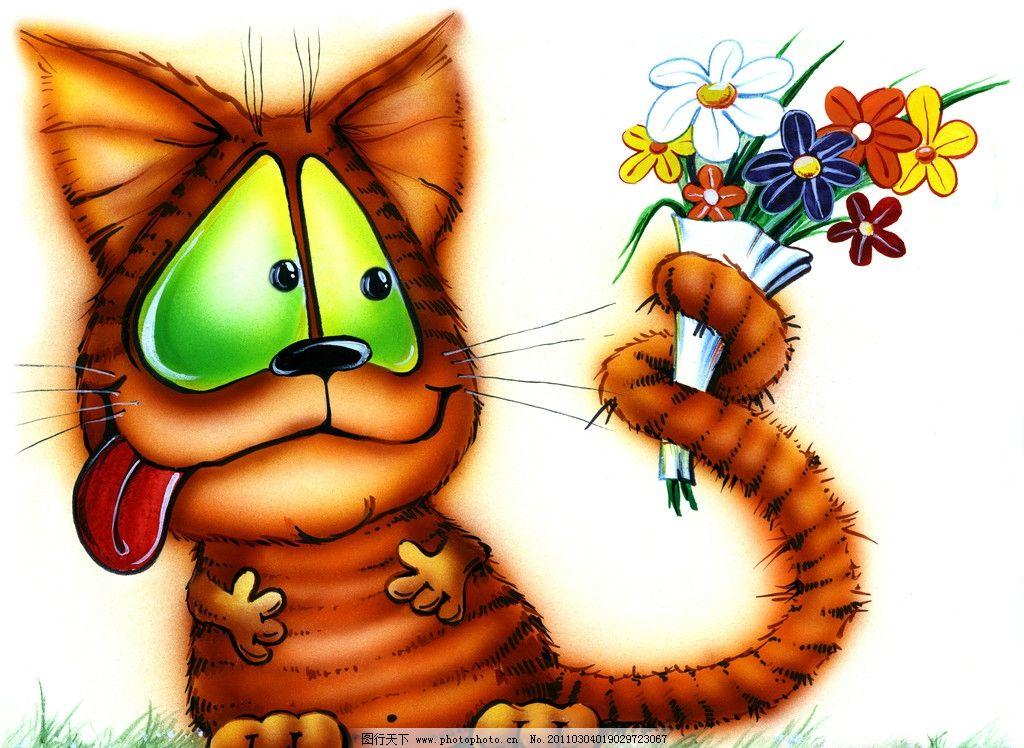猫咪与鲜花 手绘猫咪 猫猫 可爱 宠物 装饰画 绘画 无框画 动漫动画