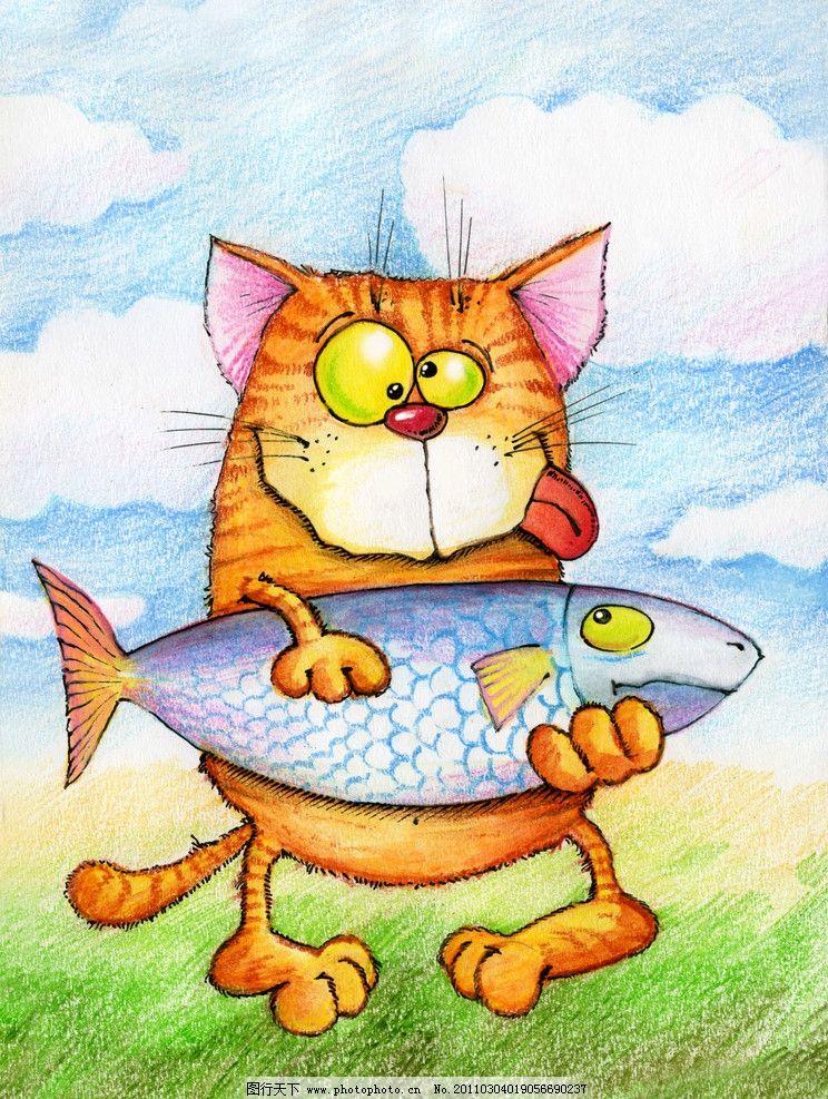 手绘猫咪 猫咪 猫猫 可爱 鱼 宠物 装饰画 绘画 无框画 动漫动画 草地