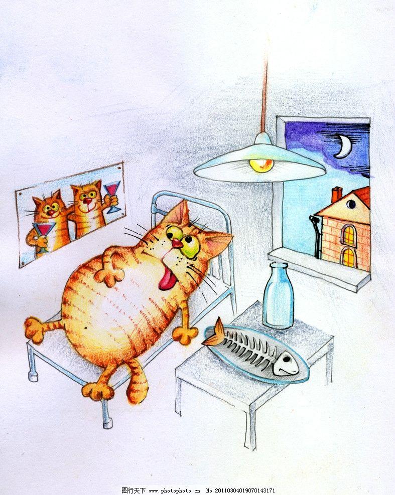 手绘猫咪 猫猫 可爱 宠物 装饰画 绘画 无框画 动漫动画 鱼骨头