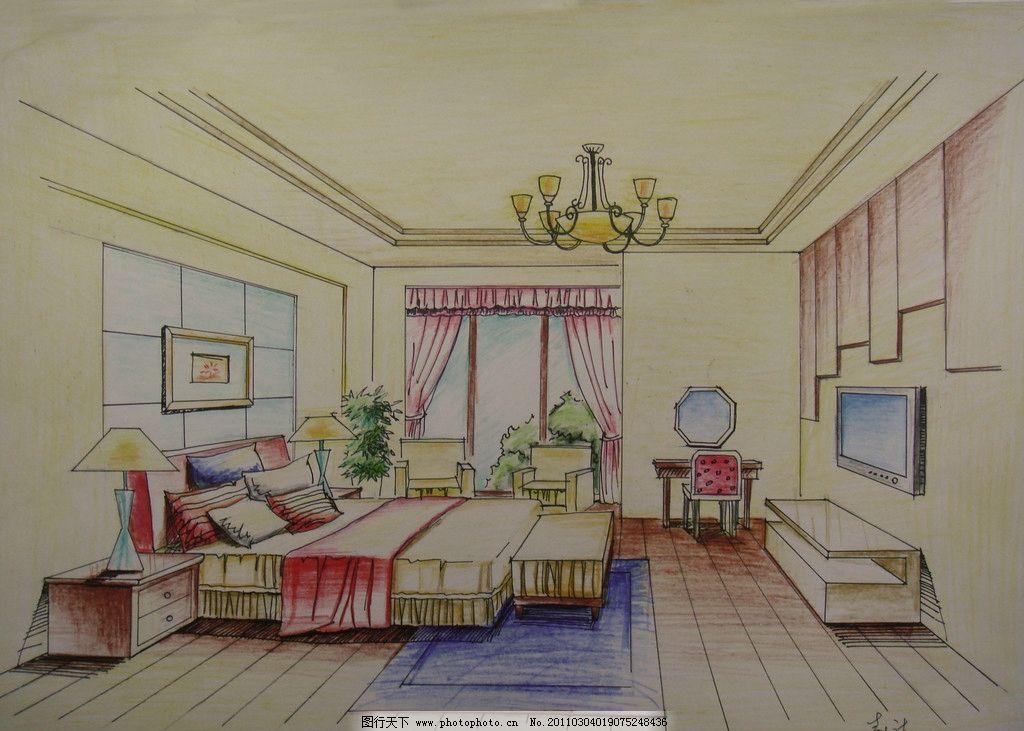 室内手绘图      窗 床 吊灯 台灯 梳妆镜 绘画书法 文化艺术 设计 72