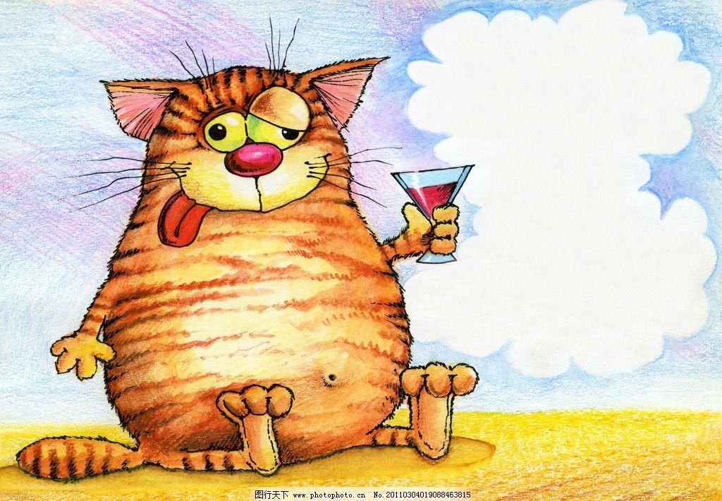 手绘猫咪 猫咪 猫猫 可爱 宠物 装饰画 绘画 无框画 动漫动画 酒杯