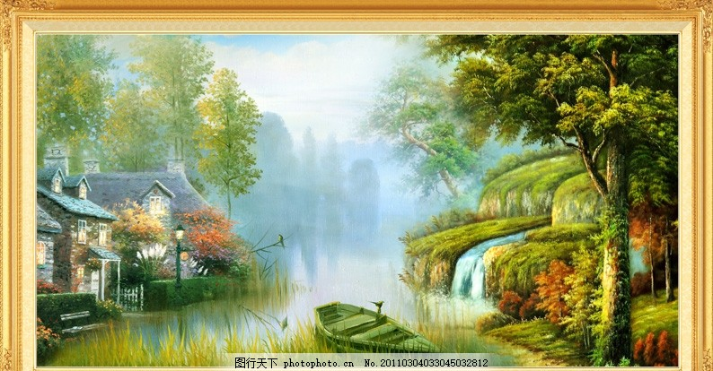 流水生财 财源滚滚 迎客松 红叶树 松树 鲜花 梅花鹿 仙鹤 客厅画