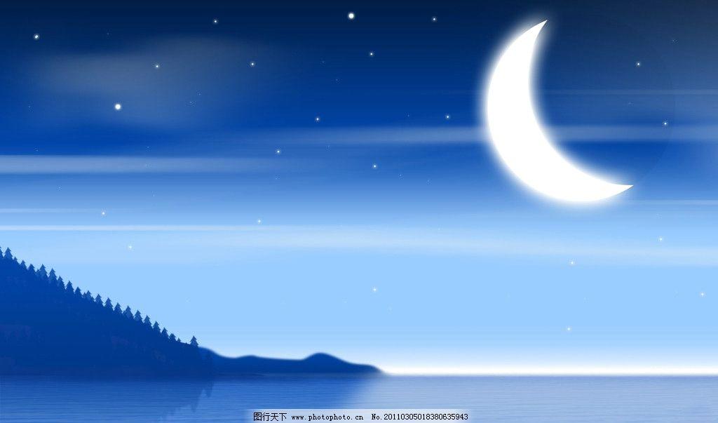 唯美夜晚风景插画壁纸图片_动漫人物_动漫卡通_图行