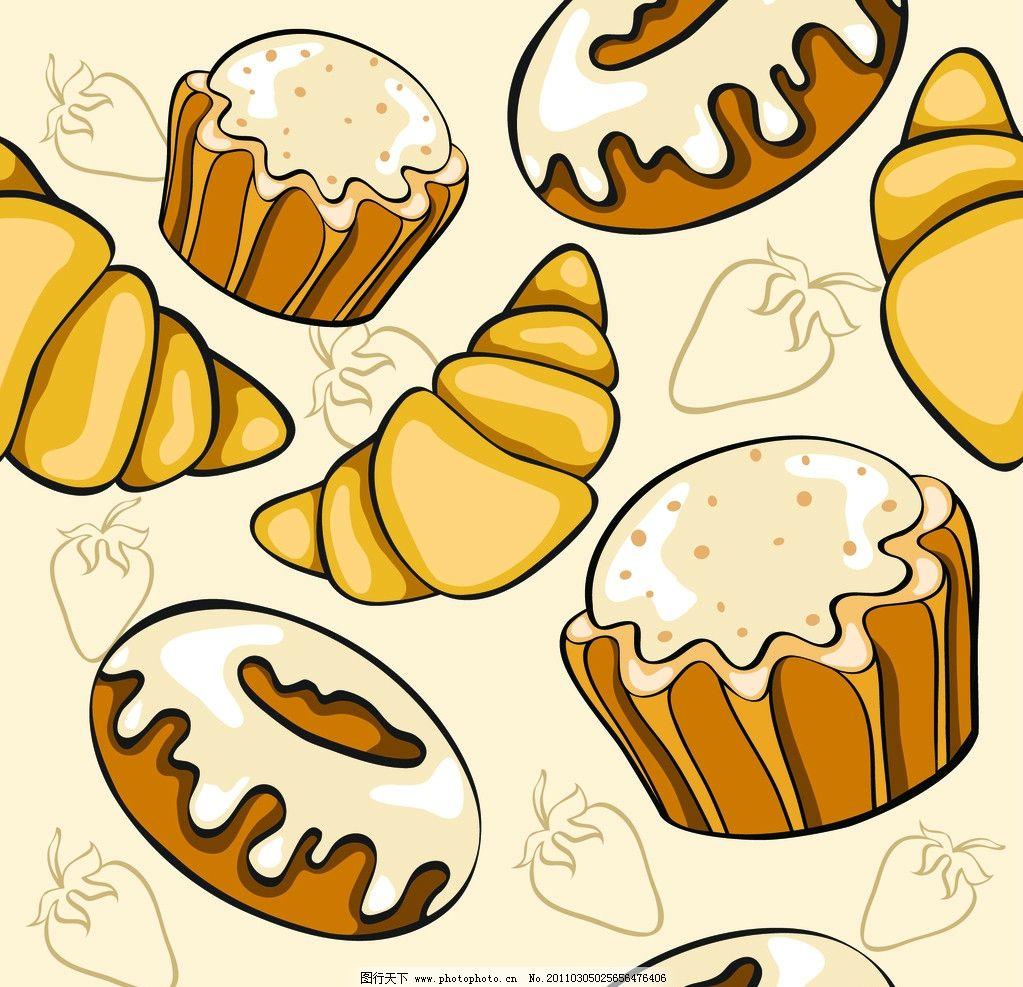 面包 三明冶 蛋糕 糕点 小吃 早餐 早点 小麦 面食 矢量图库