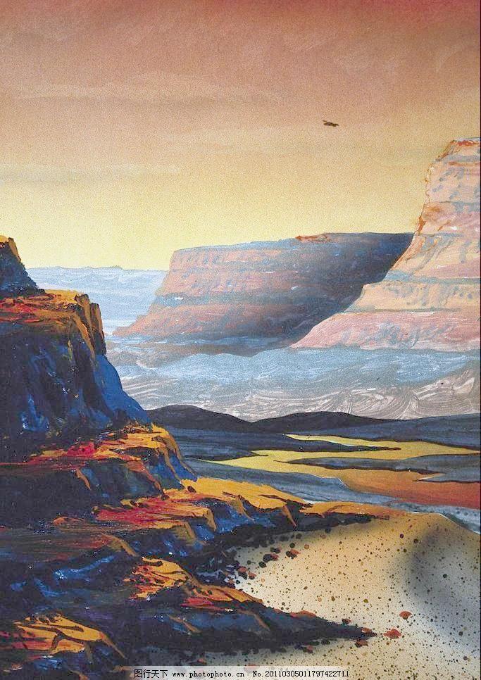 色彩创意风景画图片_山水风景画