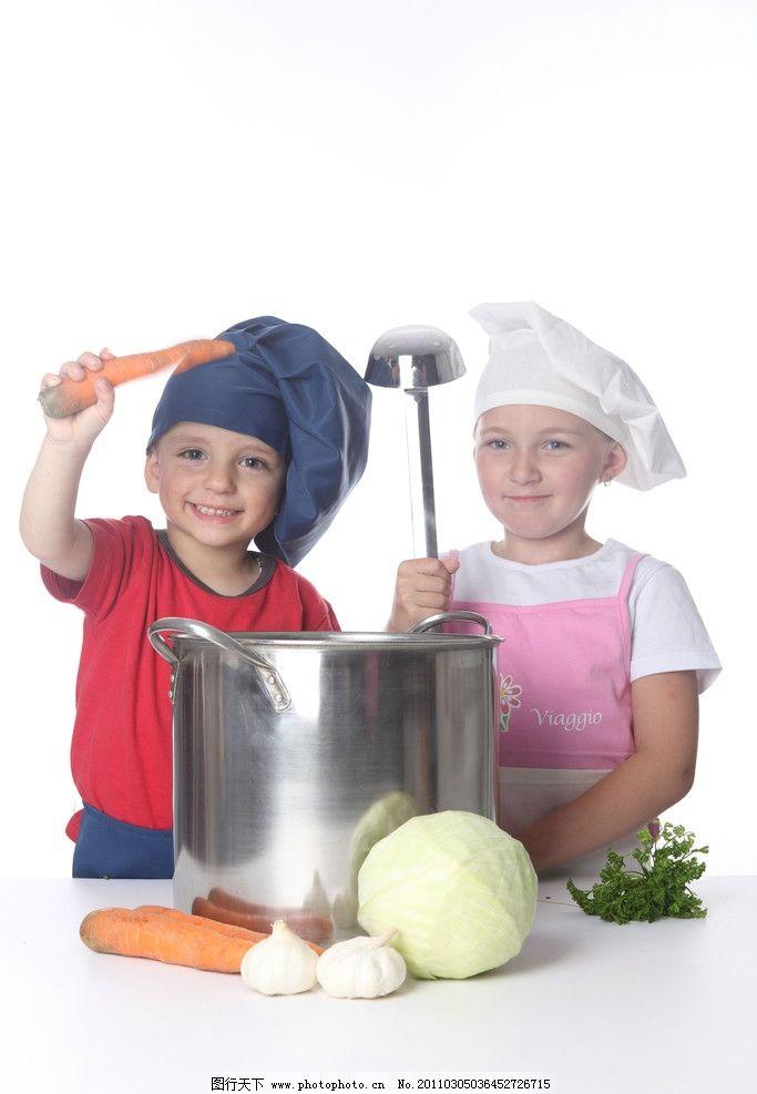 小厨师高清图片 可爱 汤勺 蔬菜 做饭 儿童 人物图库 汤锅 厨师 外国