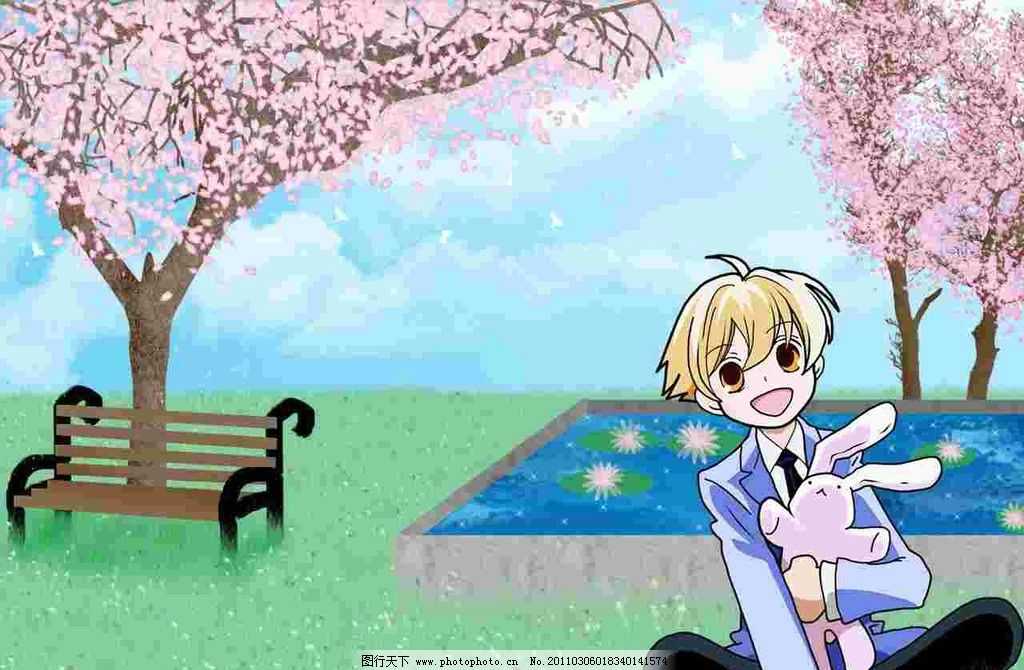 卡通人物 男孩 樱花树 粉色的花 长凳 兔子 荷花 睡莲 动漫动画