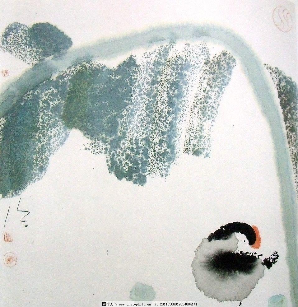 国画 家禽 抽象 水墨小鸡 墨绿色树叶 笔法 美术国画 水墨画 彩墨画