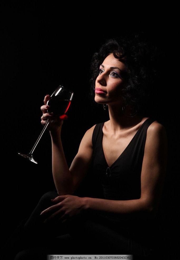 红酒 优雅 女人(6)