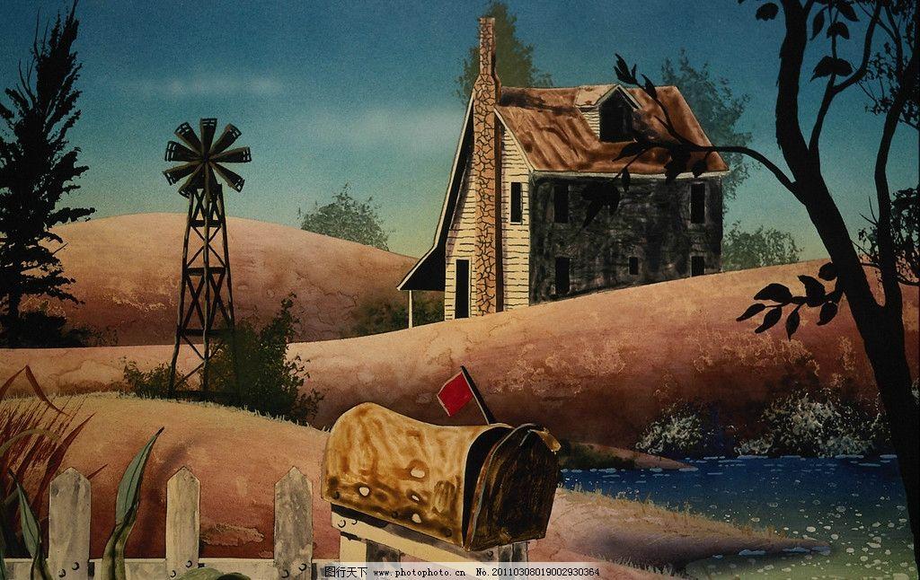 水彩画 水彩喷画 水彩风景画 色彩 屋子 木庄 风景 旗子 风车 邮箱 树