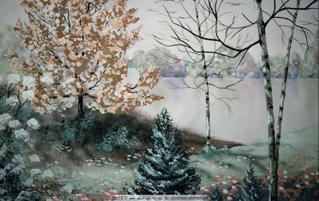 水彩画 水彩喷画 水彩 风景 水彩风景画 树 河 美术绘画 绘画书法