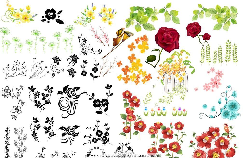 花 草 花边 玫瑰花 树叶 植物 树 百合 紫金花 红 绿 蓝 图案 花纹